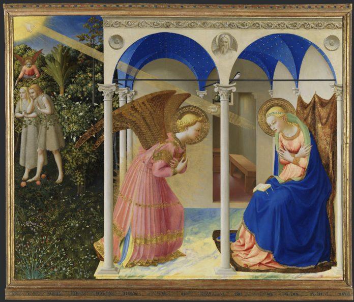 Pintado alrededor de 1425-1426, realizado en oro y temple sobre tabla, para la iglesia de San Domenico en Cortona, La Anunciación transmite el momento en que el arcángel Gabriel anunció a María que se convertiría en la madre del Hijo de Dios.