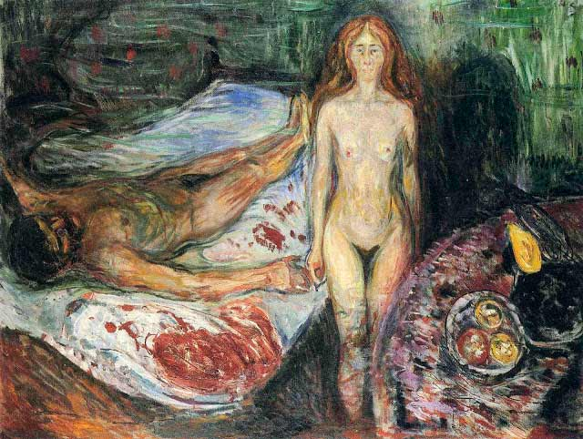 """""""La muerte de Marat"""" (dos versiones, ambas de 1907), que normalmente se cree representa """"la lucha entre hombre y mujer a la que llaman amor""""."""