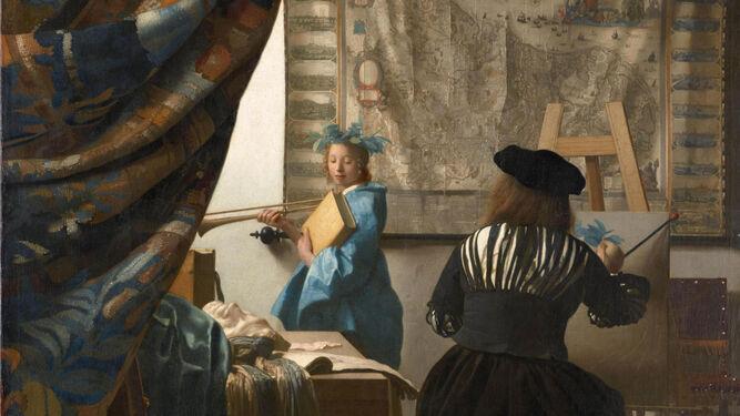 """Johannes Vermeer nació en la ciudad de Delft en los Países Bajos y después de unos días fue bautizado en la Iglesia Reformada el 31 de octubre de 1632. Su padre, Reynier Janszoon, era un trabajador de la seda o del café de clase media. En 1615 se casó con Digna Baltens, una mujer de Amberes. En 1620 nació una hija, Gertruy. En 1625 Reynier Janszoon se vio envuelto en una pelea con un soldado, que murió por sus heridas cinco meses después. Alrededor de 1631 Reynier Janszoon alquiló una posada llamada La Zorra Voladora y comenzó a comerciar con pinturas. Como complemento, continuó trabajando como tejedor. En 1641, cuando se acabó el contrato, compró una posada más grande en la plaza del mercado, llamada así por la ciudad belga """"Mechelen"""". La única hermana de Vermeer, Gertruy, trabajaba en la posada ayudando a sus padres, sirviendo bebidas y haciendo camas. En 1647 se casó con un fabricante de marcos. Cuando el padre de Vermeer murió en 1652, Vermeer lo reemplazó como comerciante de pinturas."""